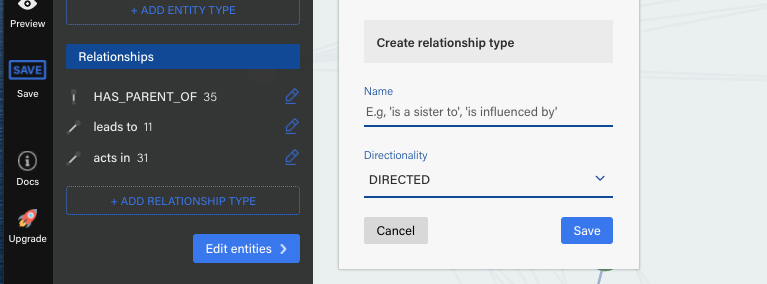 Edit relationship types in our graph visualization software